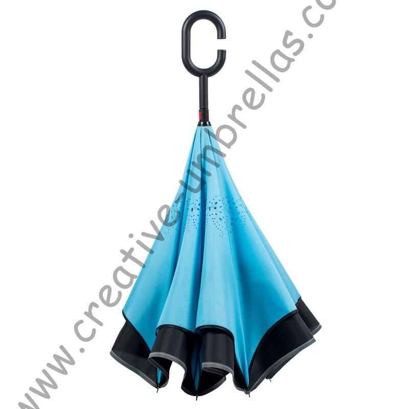 98 cm 2-3 personnes c-crochet auto-défense réfléchissant néon coupe-vent inverse mains libres parapluie Double couche inversé support parasol