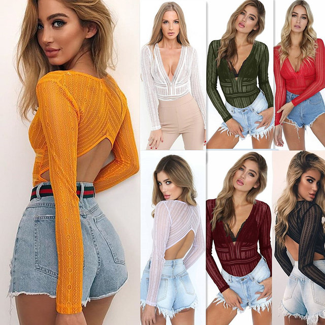 2216ec46e Danjeaner Lace Mesh Long Sleeve Bodysuit Women Sexy Deep V neck Hollow out  Romper Jumpsuits Solid