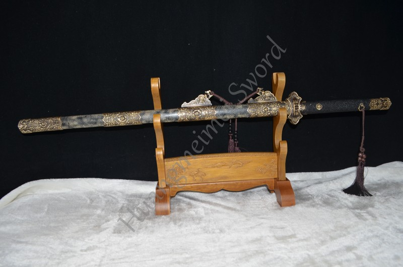 TOP QUALITY CHINESE SWORD FULL TANG Clay Tempered FULL RAYSKIN SHEATH HAND MADE CUSTOM VERY SHARP
