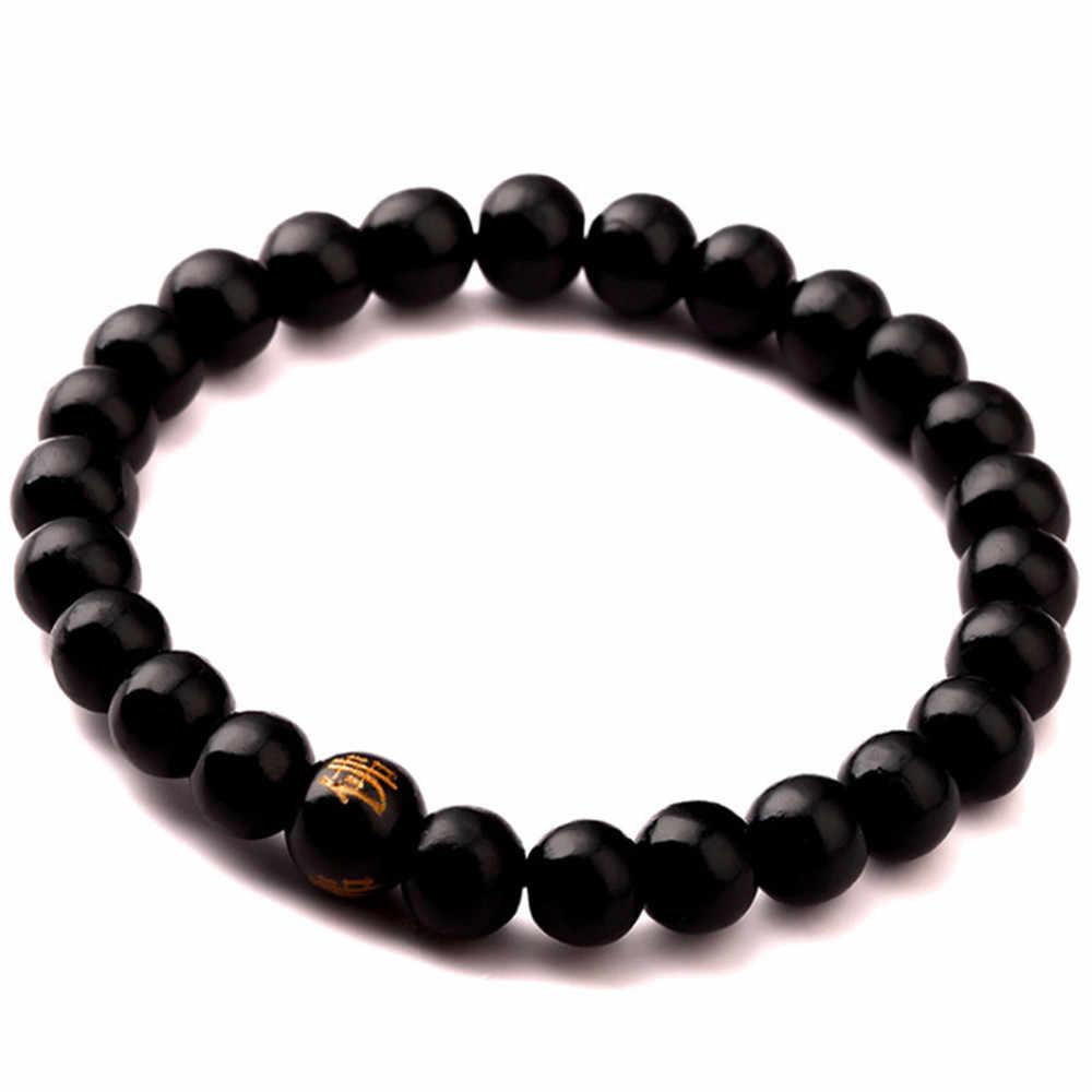 Шарм настоящий Сандал бусы буддийский Будда Дерево Молитва бисером узел черный черное дерево унисекс Мужские браслеты и браслеты для женщин