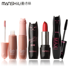3Pcs/Lot Cat Series 3 Styles Makeup Set Lipstick and Lip Gloss and Mascara Makeup Brand MANSLY #MAO001