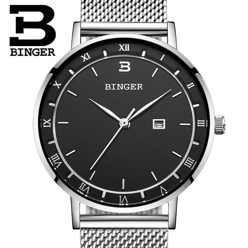 Relógios de Luxo Binger Mulheres Marca Moda Quartzo Senhoras Aço Inoxidável Pulseira Relógio Casual Masculino Montre Femme Reloj Mujer