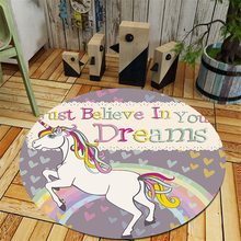 Ins Style Round Unicorn Carpet Rugs Girls Room Play Area Rug Baby Bedside Doormat Floor Chair Mat Large Carpets Living