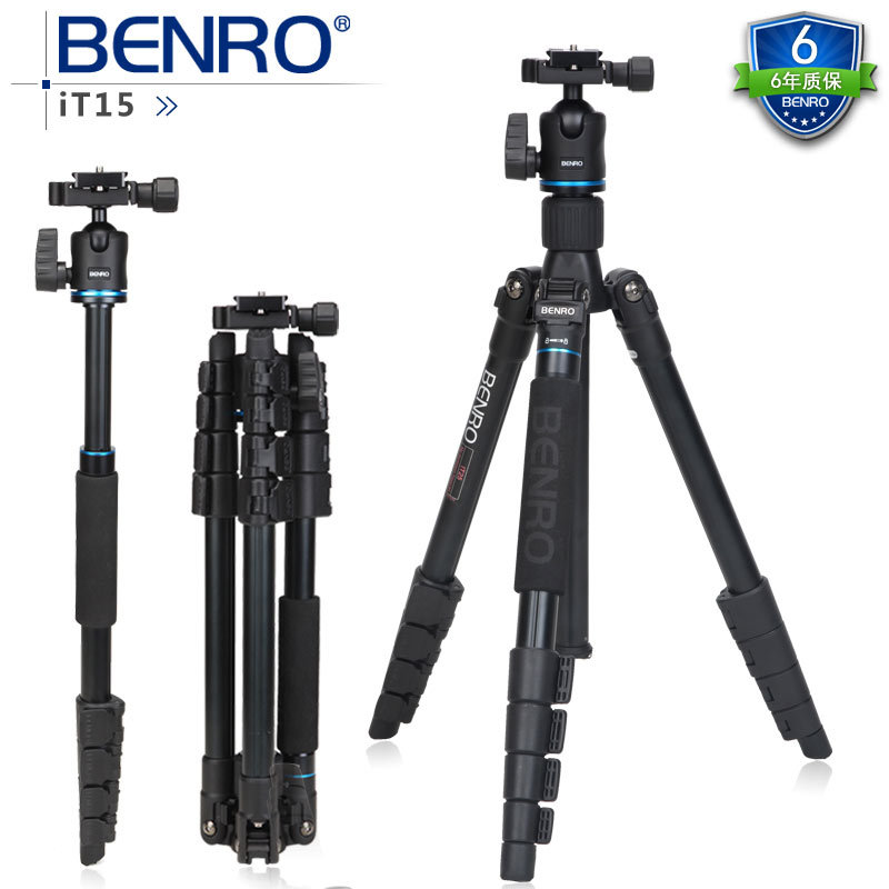 BENRO IT15 Pro Portable Aluminium Tripod Reflexed Removerble Traveling Monopod Carrying Bag Bear weight 4kg Free Shipping