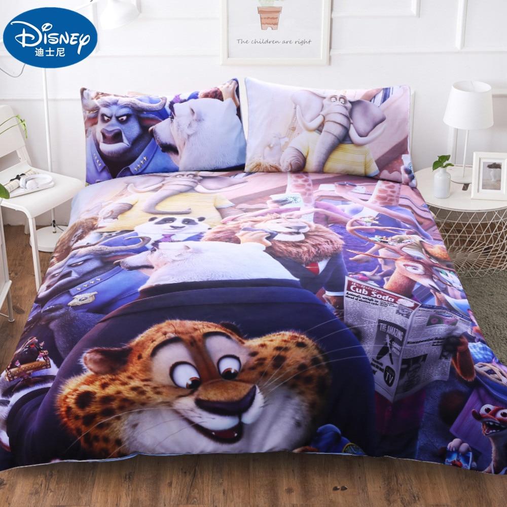 Disney 3Pcs Zootopia  Children Bedding Sets Cartoon Cute Duvet Cover Pillow Cases   Quilt Set Adult Double Bedding