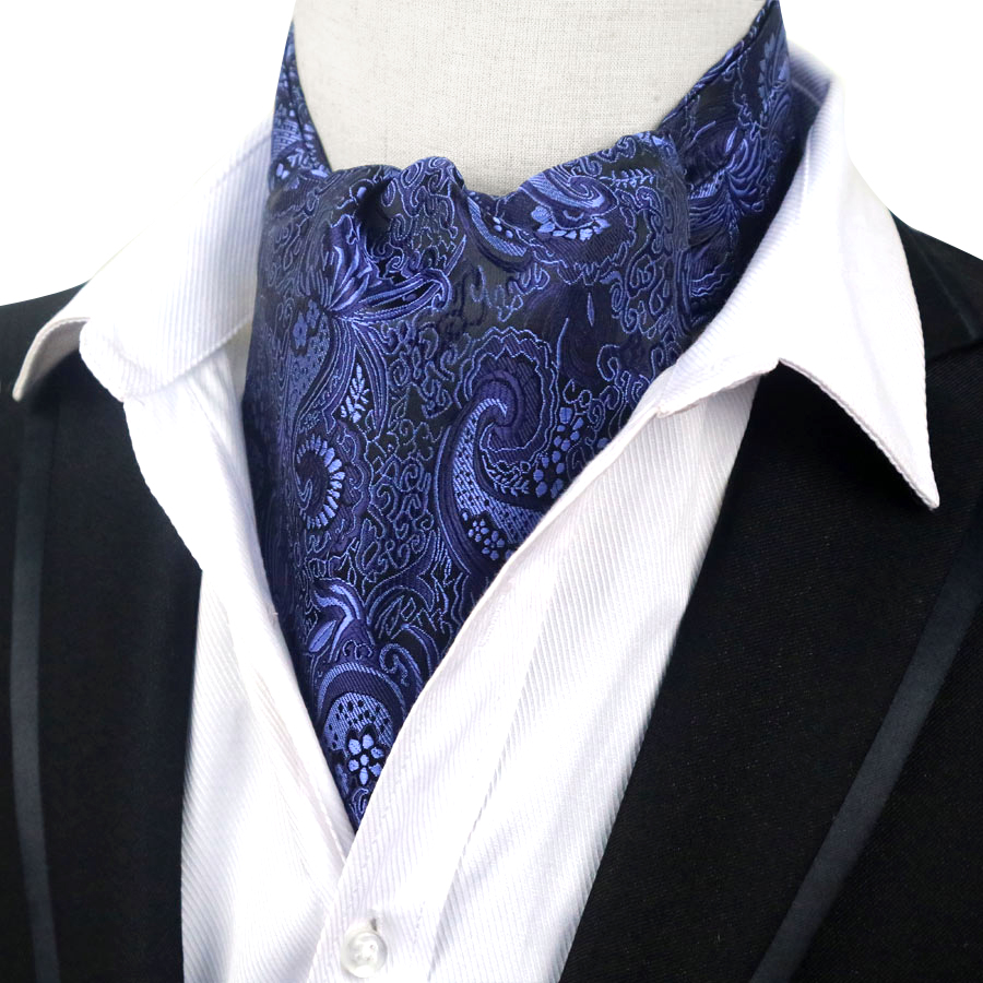 YISHLINE Hot Men's Cravat Ascot Tie 100% Silk Purple Black Red Paisley Floral Gentleman Self Tied Fashion Neck Tie