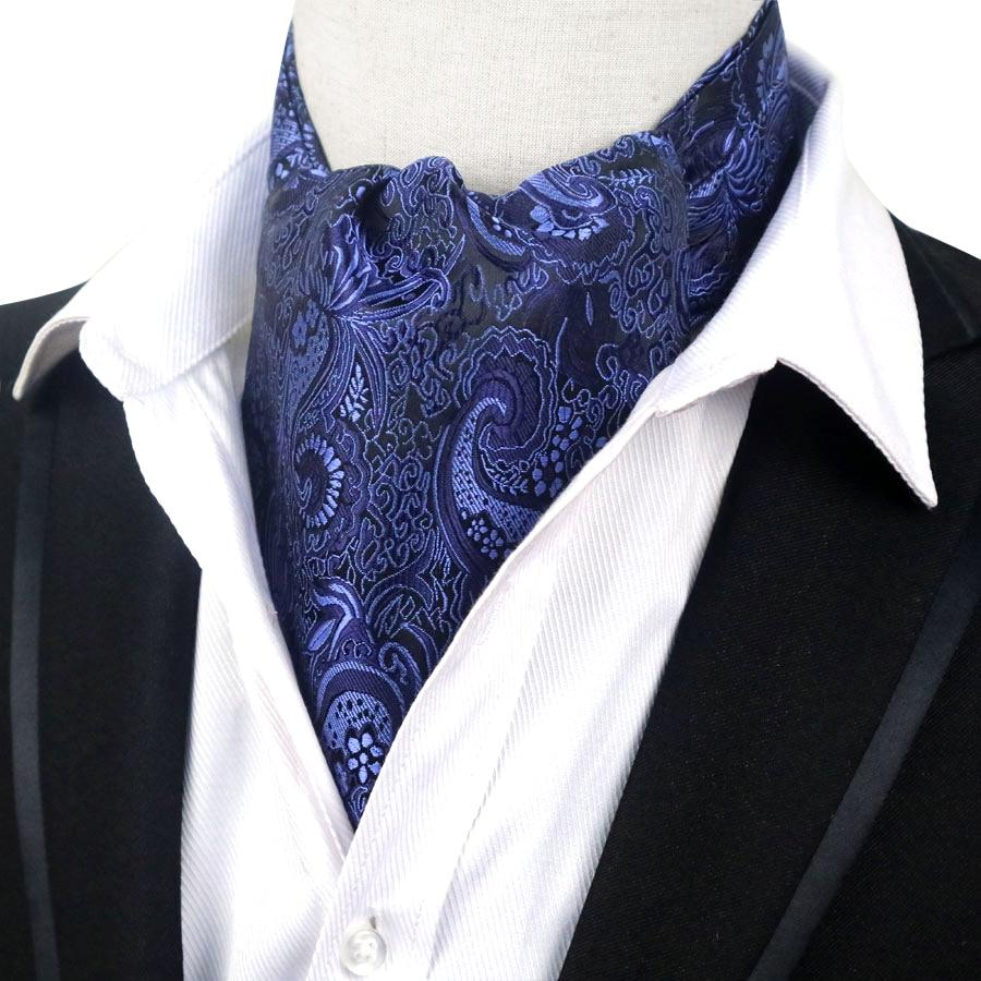 YISHLINE Hot Men's Cravat Ascot Tie 100% Silk Purple Black Red Paisley Floral Gentleman Self Tied Fashion Neck Tie