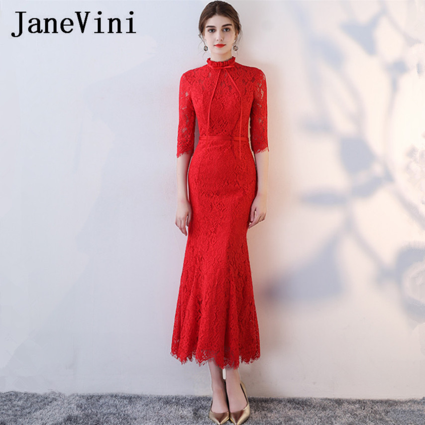 JaneVini Vestidos Red Mother of Bride Dress Long Mermaid Half Sleeves High Neck Lace Evening Dress Ankle-Length Vestido De Novia