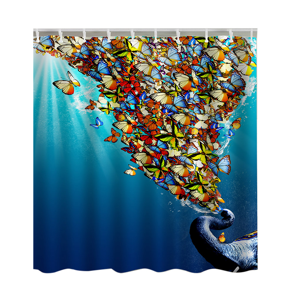 2 Sizes Bathroom Shower Curtain Waterproof Dacron 3D Printed Colorful Butterfly Patterns ...