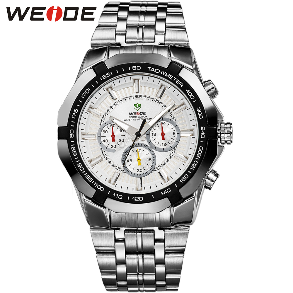 """Weide новое часы в стиле """"милитари"""" мода мужчины кварцевые наручные мужские спортивные часы полный стали 12-месяц гарантия 3ATM"""