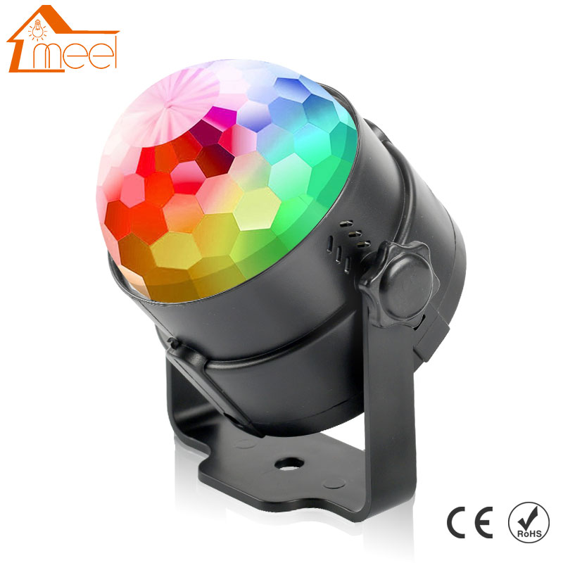 7 Colors Mini RGB LED Crystal Magic Ball Stage Lamp Sound Activated Laser Projector Party Disco Club DJ Light 6w e27 led stage light rgb lamp with voice activated mp3 projector crystal magic ball rotating disco dj party stage lighting