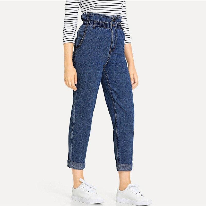 SHEIN Blue Rolled Hem Frill High Waist Jeans 3 Colors 2019 Women Spring Plain Pocket Zipper Elastic Waist Casual Pants Trousers