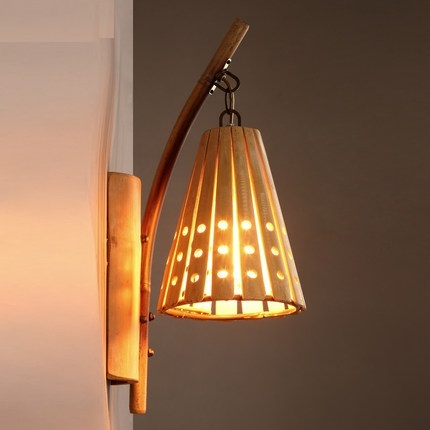 American Loft Style Bamboo Wall Sconce Vintage Light For Home Antique Led Lamp