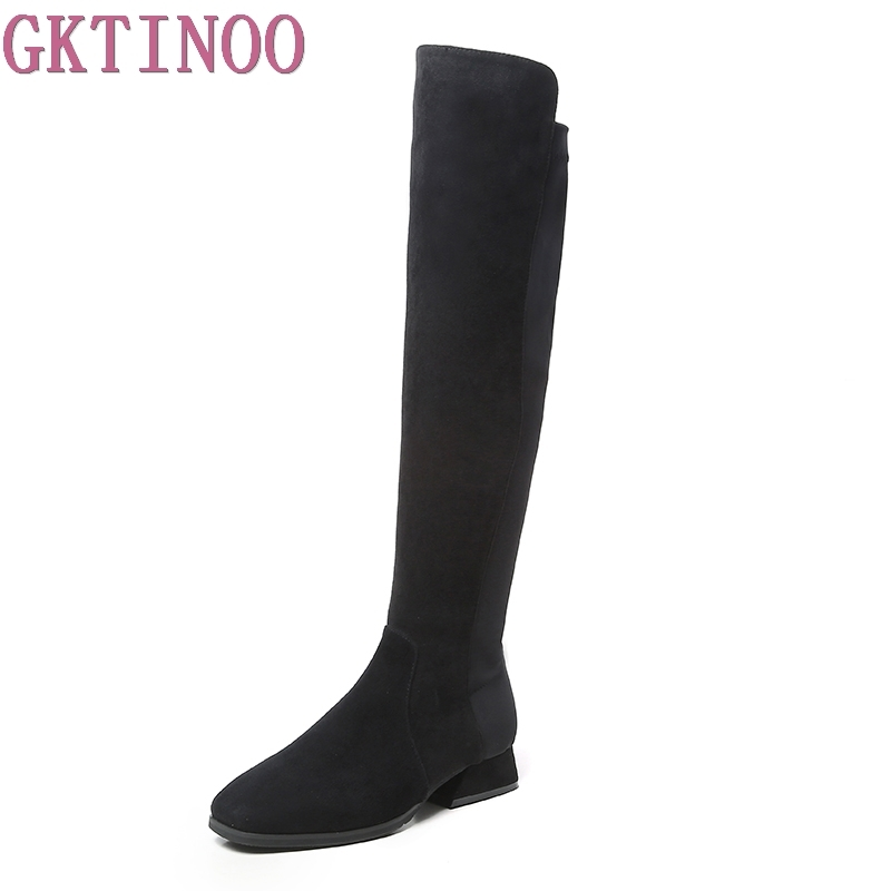 GKTINOO Women Winter Boots Stretch Slim Over Knee Boots Kid Suede Leather Thigh High Boots Shoes Woman Round Toe Autumn Boots 2017 winter cow suede slim boots sexy over the knee high women snow boots women s fashion winter thigh high boots shoes woman