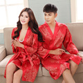 2016 Couple robe festive red noble black silk nightgown tracksuit thin section silk bathrobe Lesbian