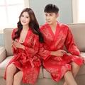 2016 Par bata camisón de seda chándal rojo festivo noble negro sección delgada de seda albornoz Lesbianas