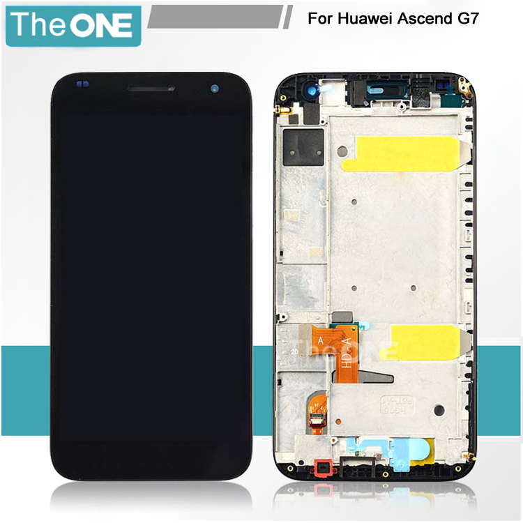Lcd display with touch glass digitizer +frame assembly for huawei G7 replacement screen White Black 5lcd replacement for huawei ascend p7 lcd display with frame touch panel screen digitizer glass assembly black white tool