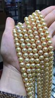 gorgeous 8 8.5mm Japanese Akoya gold pearl necklace 36inch 14k