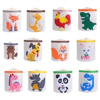 large folding Cute Cartoon Animal storage bag Kids Toys Organizer Clothes Laundry Basket Waterproof Toy Storage Box with Cover
