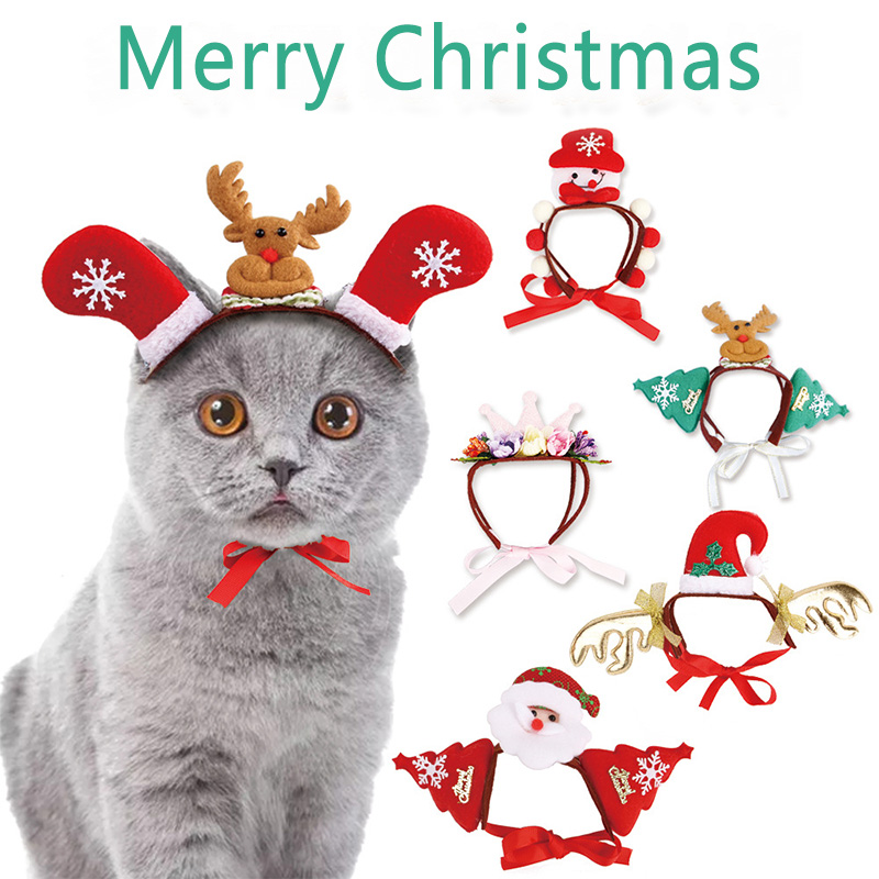 Pet Dog Cat Accessories Christmas Headwear Crown Santa Claus Headband Christmas Pet Party Funny Dogs Cats Cap Cute Decoration