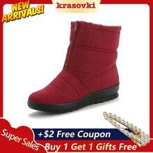 Krasovki Women Boots Winter Platform Female Snow Ankle Dropshipping Waterproof Plush Insole Fashion Short
