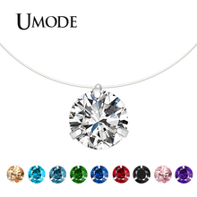 UMODE 2019 New Round Zircon Pendant Necklaces for Women Clear Green Red Blue Pink Black White Gold Simple Chains Jewelry AUN0362