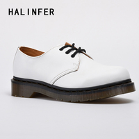 HALINFER martin shoes women genuine leather round toe platform white Lovers lace up casual flats shoes