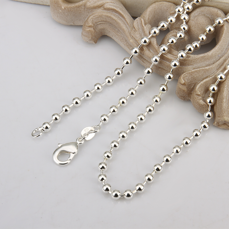 12pcs Ready made silver plated ball chains replacement jewellery making 30 inch
