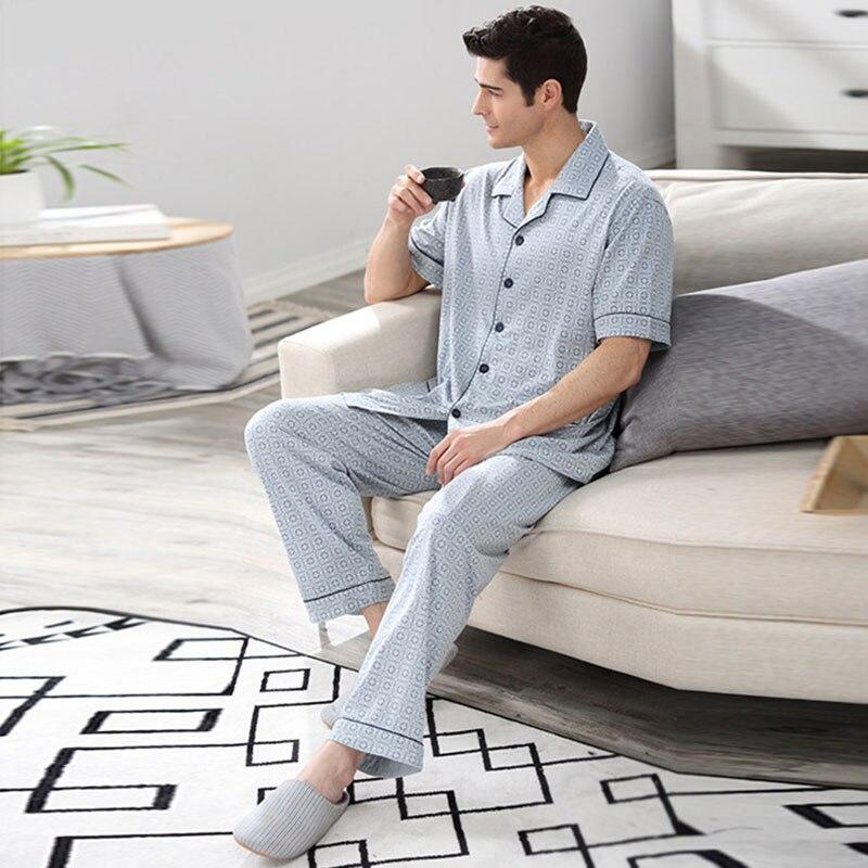 62024afddc CherLemon Mens Summer Cotton Pyjamas Comfy Short Sleeve Tops Long Pants Pajama  Set