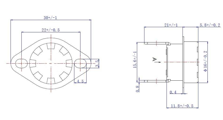 5 Pcs 16mm Dia Ceramic Thermostat NC Temperature Switch KSD301 185C