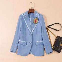 2018 Новая Мода Сердце Бисер вышивка блейзеры Для женщин высокое качество длинный рукав V_neck Офисные женские туфли пиджаки
