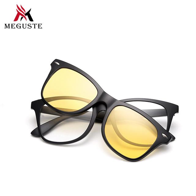 Meguste ретро магнит очки мужчины квадратная рамка близорукости очки с поляризованными магнитный зажим TR90 óculos де грау вождения.