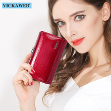 Vickaweb mini carteira feminina de couro legítimo, carteira pequena fecho de jacaré com fecho