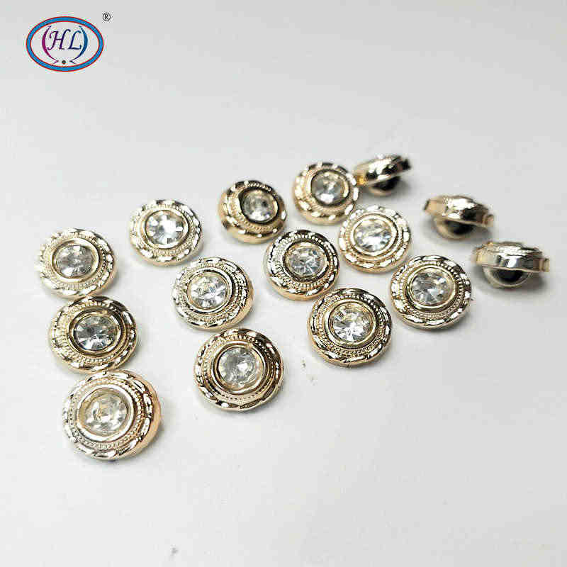 HL 30/50/150PCS 10MM New Plating Buttons With Rhinestones Shank DIY Apparel Sewing Accessories Shirt Buttons