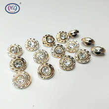 HL 30/50/150PCS 10MM New Plating Buttons With Rhinestones Shank DIY Apparel Sewing Accessories Shirt hl 18x15mm 50 100pcs mix color fish shank plastic buttons children s garment sewing accessories diy crafts