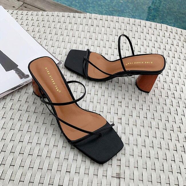 HTB1dtfdbwaH3KVjSZFpq6zhKpXaa MONMOIRA Wood Heel Slipper Women's Sandals Vintage Square Toe Narrow Band High Heel Sandals Women Summer Shoes Women SWC0713
