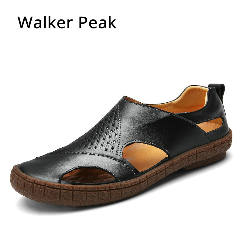 Brand Toe Protect Mens Sandals, Genuine Leather Soft Sole Casual Shoes for Man,Quality Men Outdoor Beach Shoes Walker PeakBrand Toe Protect Mens Sandals, Genuine Leather Soft Sole Casual Shoes for Man,Quality Men Outdoor Beach Shoes Walker Peak