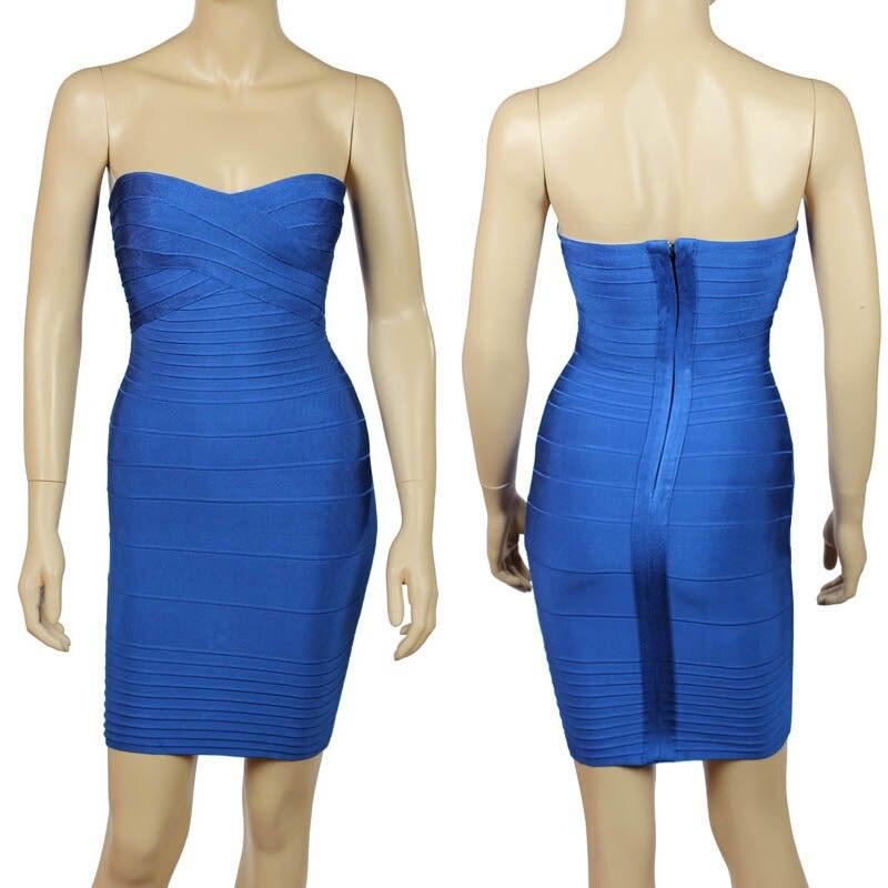 Ким Кардашьян, без бретелек, с открытыми плечами,, сексуальное женское платье, вискоза, бодикон, опт, дешевые мини обнаженные платья - Цвет: Синий