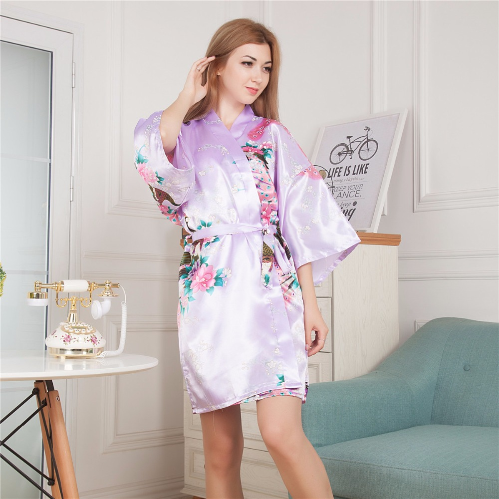 Plus Size Ladies Summer Mini Kimono Short Robe Bath Gown Light Purple Chinese Women Rayon Yukata Nightgown Pijama Mujer Mdn006
