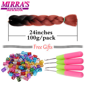 Image 4 - Mirra's Mirror 5pcs Jumbo Braid Hair Crochet Braids Synthetic Hair Ombre Braiding Hair Extensions Three Tone 24inches