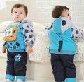 2016 НОВЫХ детских зимней одежды наборы с корова бык стиль детские зимний костюм и брюки мальчики и девочки зимний пиджаки, C168