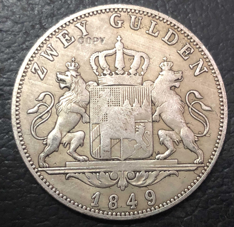 1849 ממלכת בוואריה 2 גולדן-מקסימיליאן כסף מצופה עותק מטבע