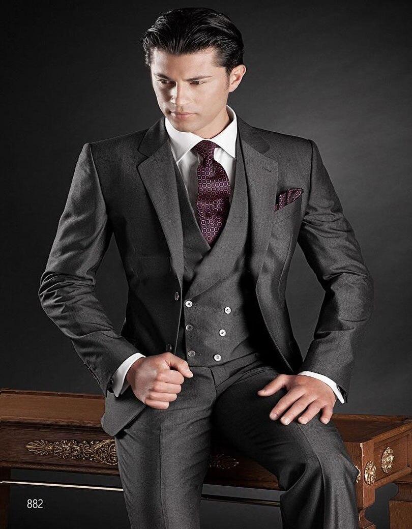 2019 Italian Design Dark Grey Mens Wedding Suits Notched Lapel Tuxedos One Button Mens Suits Groomsmen (jacket+pants+vest)