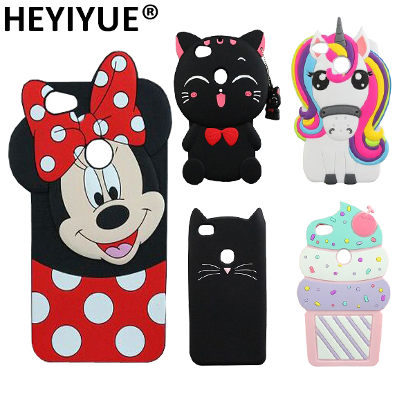 lovely cat minnie mouse unicorn ice cream silicone cell phone 3d