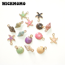 New 10 Pieces Cute Lovely Nautical Starfish Scallop Conch Drop Oil Zinc Alloy Charms Pendants Diy Jewelry Accessories PJ287