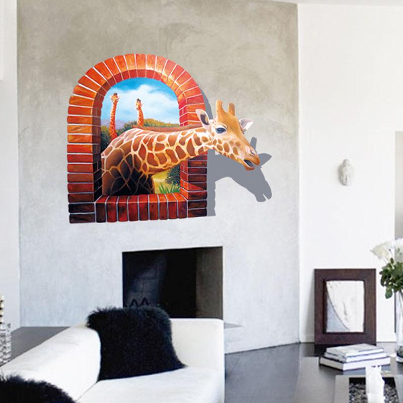 3D Lebhafte Afrika Giraffe Fenster Wandaufkleber Steuern Dekor Wohnzimmer  Fotorahmen Wandbild Kunst 8007 Pvc Wandtattoos Poster In 3D Lebhafte Afrika  ...