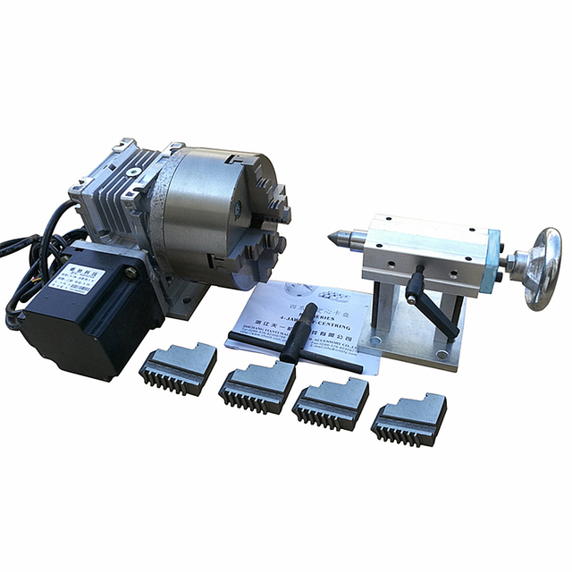 CNC Rotary Axis A Axis the 4th Axis 100MM 4 jaw ( 130MM 4-jaw for Optiona) with 4-Jaw Chuck for CNC Router Engraving Machine