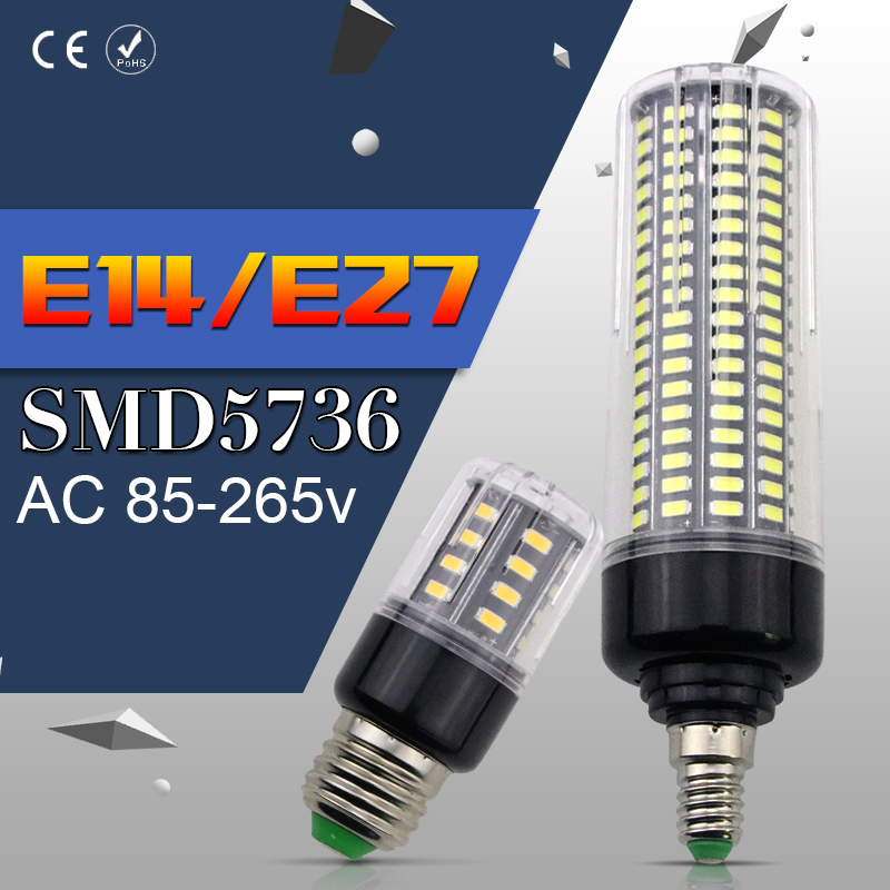 E27 LED Bulb Corn Lamp SMD5736 No Flicker 28 40 72 108 132 156 189led Aluminum Energy saving Light 3.5W 5W 7W 9W 12W 15W 20W E14
