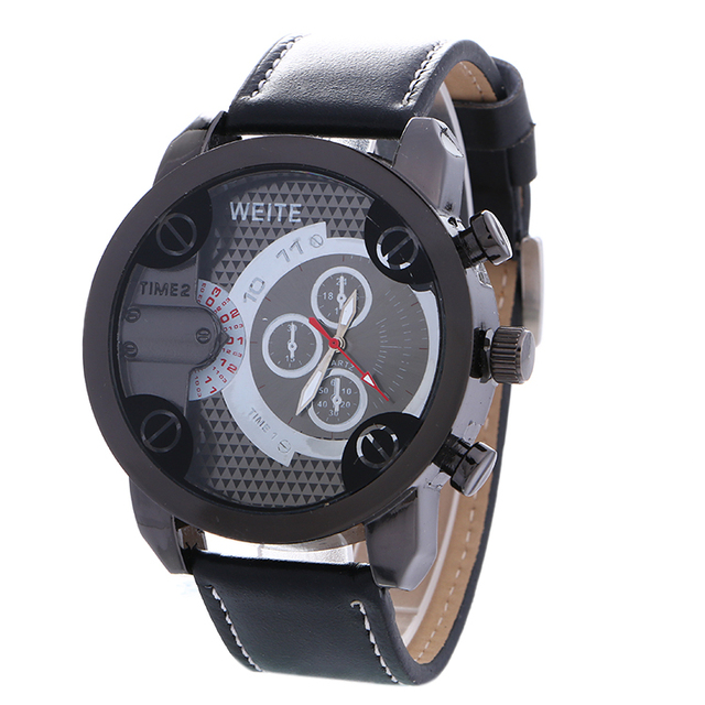 quartz watch leather men view weite quick watches rosivga wrist index