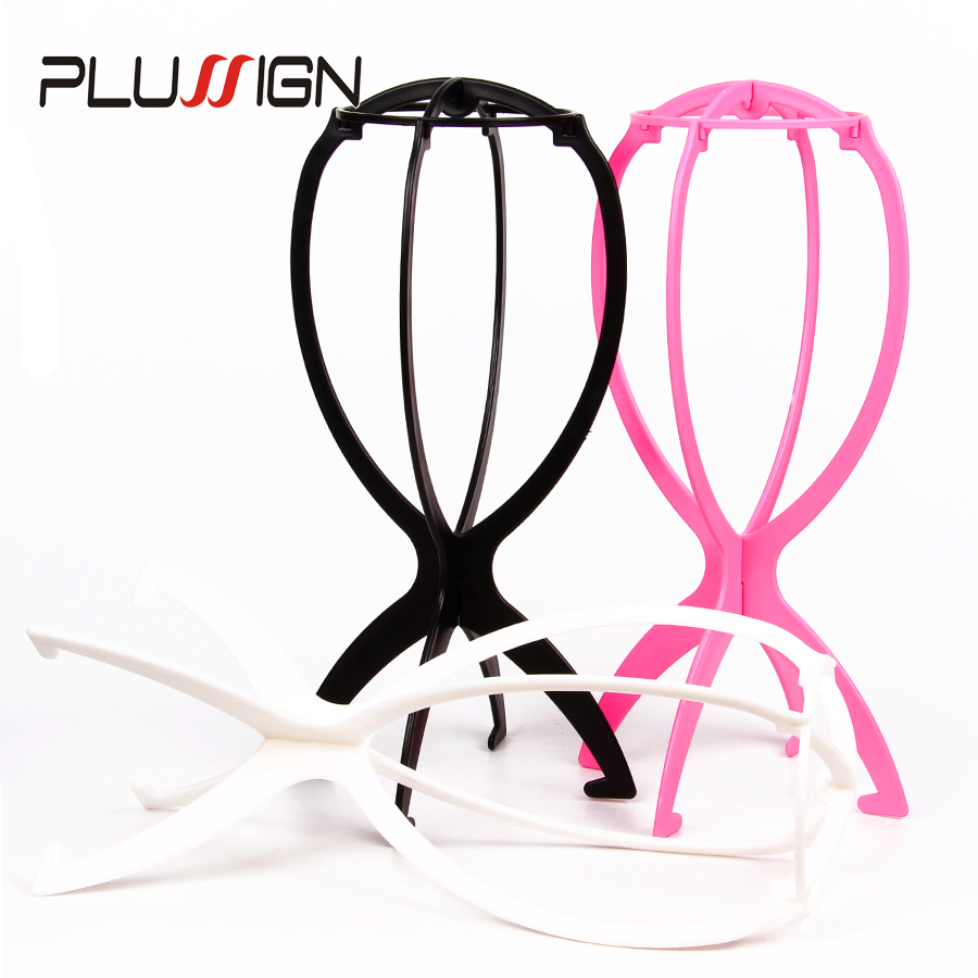 Pink White Black Wig Stand Head Plastic Wig Holder Stand Portable Folding For Styling Drying Display Travel For Women 1PC